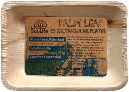 EcoSouLife Palm Leaf (L23 x W15.5 x H2.5cm) Rectangular Plates Natural 25Pc Set