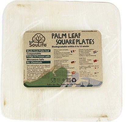 EcoSouLife Palm Leaf (L24 x H2cm) Large Square Plates Natural 25Pc Set