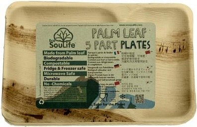 EcoSouLife Palm Leaf (L27.5 x W18 x H2.5cm) Rectangular Divided Plates Natural 5Pc Set