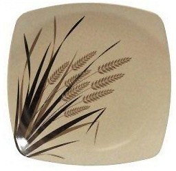 EcoSouLife Rice Husk (D19.5 x H2.5cm) Small Square Plate Print Rice Paddy