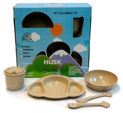 EcoSouLife Rice Husk Little People 5Pc Set Gold Natural
