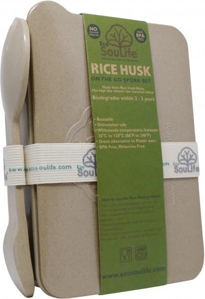 EcoSouLife Rice Husk On The Go Spork Set (W12cm x H5.5cm x L17cm) Natural