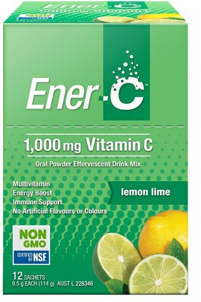 Ener-C 1000mg Vitamin C Lemon Lime Effervescent Drink Mix  12Sachets