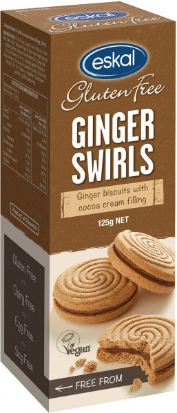 Eskal Ginger Swirls  Ginger Biscuits with Cocoa Cream Filling 125g