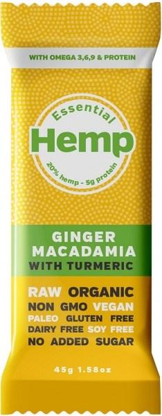 Essential Hemp Ginger Macadamia with Turmeric Bars 12x45g