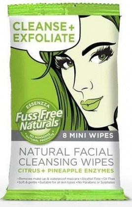 Essenzza Fuss Free Facial Cleanse Mini Wipes Exfoliate 8Pk x 12
