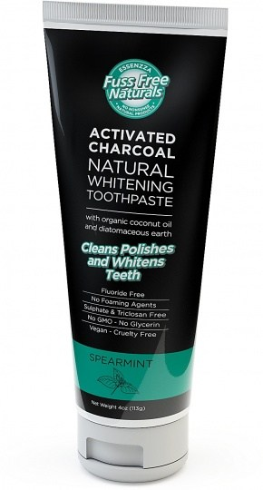 Essenzza Fuss Free Naturals Activated Charcoal Natural Whitening Toothpaste Spearmint 113g