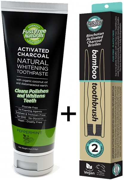 Essenzza Fuss Free Naturals Activated Charcoal Toothpaste Peppermint+FREE Bamboo Toothbrush