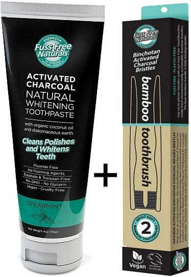 Essenzza Fuss Free Naturals Activated Charcoal Toothpaste Spearmint+FREE Bamboo Toothbrush