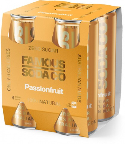 Famous Soda Cans Passion Fruit Pack 4x250ml