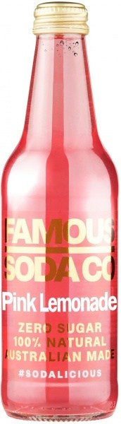 Famous Soda Co Sugar Free All Natural Pink Lemonade Soda 12x330ml
