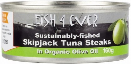 Fish 4 Ever Azores Skipjack Tuna Steaks in Organic Olive Oil 160g