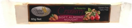 Flying Swan Soft Almond Cranberry & Pistachio Nougat Bar 60g