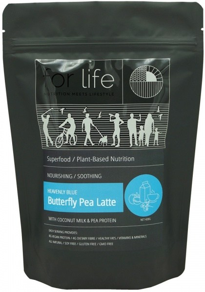 For Life Heavenly Blue Butterfly Pea Latte with Coconut Milk and Pea Protein Powder 420g