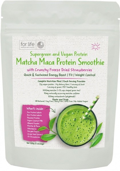 For Life Matcha Protein Smoothie Powder Strawberry 200g