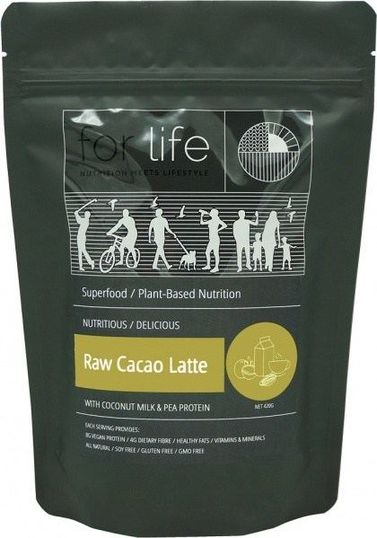 For Life Raw Cacao Latte with Coconut Milk and Pea Protein Powder 420g