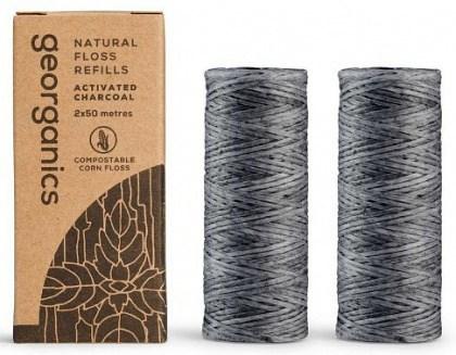 Georganics Natural Floss Refill Activated Charcoal 2x30m