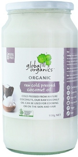 Global Organics Organic Raw Cold Pressed Coconut Oil  920g