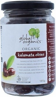 Global Organics Whole Kalamata Olives 185g