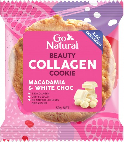 Go Natural Beauty Collagen Cookie Macdamia & White Choc 8x50g
