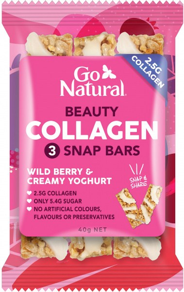 Go Natural Beauty Collagen Wild Berry & Creamy Yoghurt 3 Snap Bars 10x40g