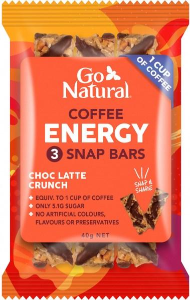 Go Natural Coffee Energy Choc Latte Crunch 3 Snap Bars 10x40g