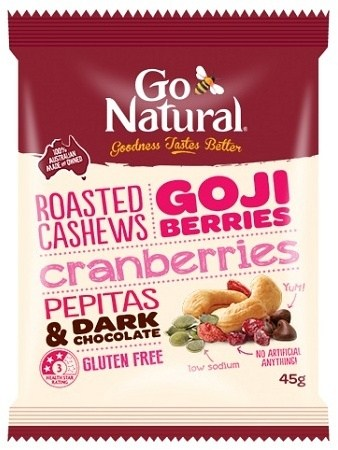 Go Natural Goji Berries & Dark Chocolate Snack Pack 12x45g