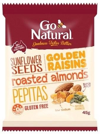Go Natural Golden Raisins & Seeds Snack Pack 12x45g