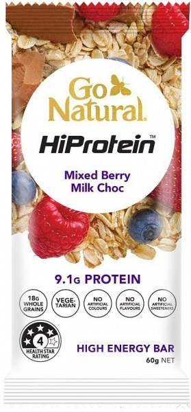 Go Natural HiProtein Mixed Berry Milk Chocolate 10x60g