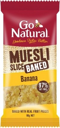 Go Natural Muesli Slice Baked 97% Fat Free Banana 90g