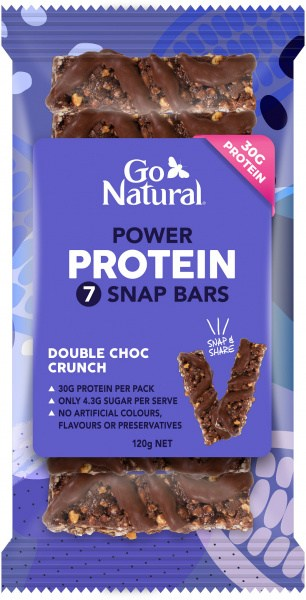 Go Natural Protein Power Double Choc Crunch 7 Snap Bars 120g