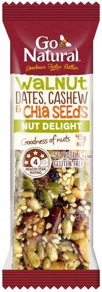 Go Natural Walnut, Date, Cashew & Chia Bar 16x45g