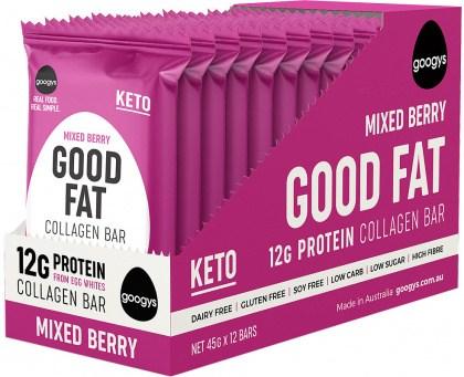 Googys Good Fat Keto Mixed Berry Collagen Bars  12x45g