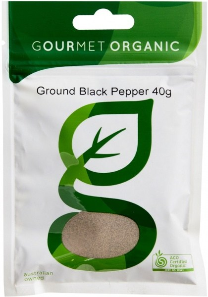 Gourmet Organic Pepper Black Ground 40g Sachet x 1