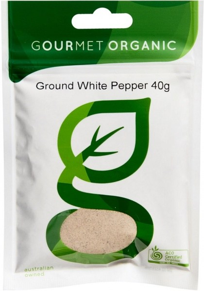 Gourmet Organic Pepper White Ground 40g Sachet x 1