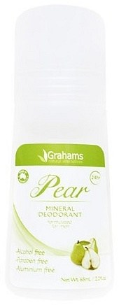 Grahams Pear Mineral Deodorant Roll On 65ml