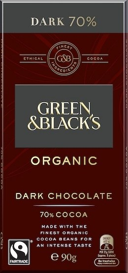 Green & Blacks Organic Dark Chocolate 70% Cocoa 100g JAN20