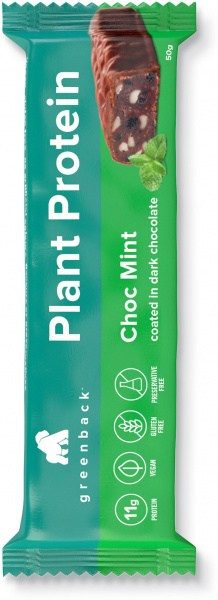 Greenback Plant Protein Choc Mint Coated in Dark Chocolate Bar 12x50g