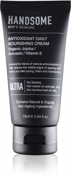 Handsome Men's Organic Skincare Antioxidant Daily Nourishing Cream Jojoba/Avocado/Vitamin E 75ml