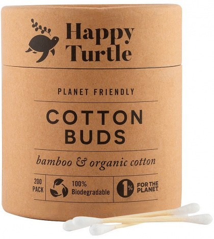 Happy Turtle Organic Cotton & Bamboo Cotton Buds - 200 Tube