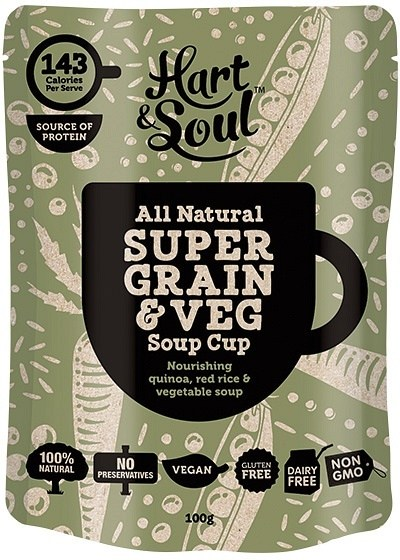 Hart & Soul All Natural Super Grain & Vegetable Soup Cup Sachet  Vegan 100g