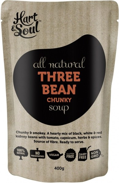 Hart & Soul All Natural Three Bean Chunky Soup in Pouch 400g