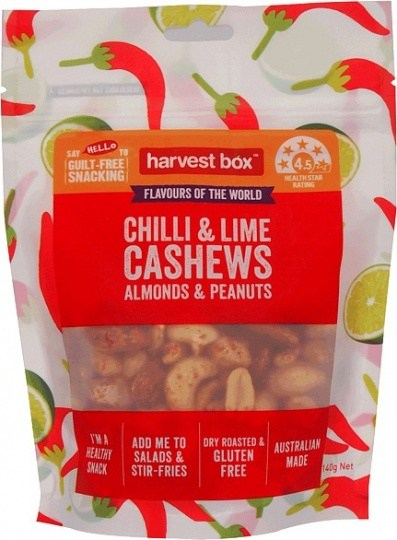 Harvest Box Chilli & Lime Cashews Almonds & Peanuts  140g