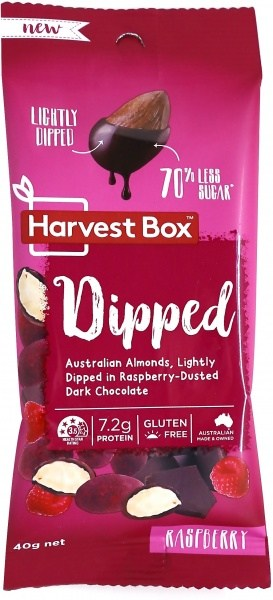 Harvest Box Dipped (Almonds Lightly Dipped in Raspberry-Dusted Dark Chocolate)  40g