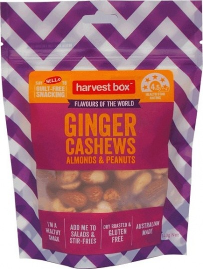 Harvest Box Ginger Cashews Almonds & Peanuts  140g