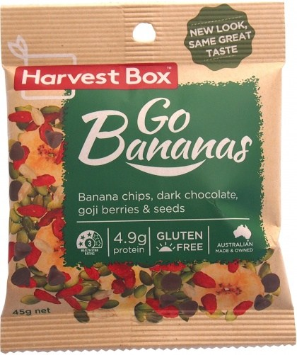Harvest Box Go Bananas, Dried Fruit, Banana Chips, Dark Choc, Seeds  45g