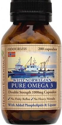 Healthy Essentials Wild Norwegian Pure Omega 3 EPA/DHA 200caps