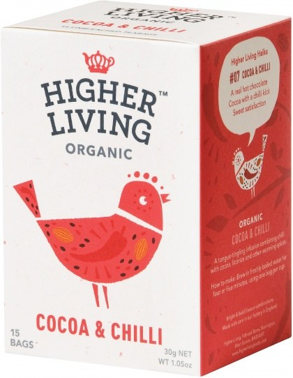 Higher Living Organic Cocoa & Chilli Tea 15Teabags