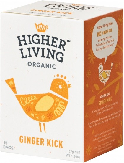 Higher Living Organic Ginger Kick Tea Caffeine Free 15Teabags