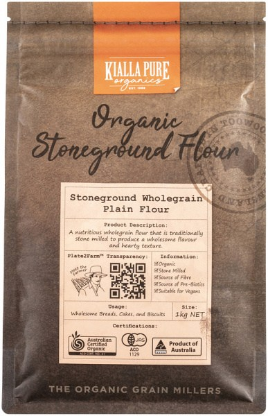Kialla Pure Organics Organic Stoneground Wholegrain Plain Flour 1Kg